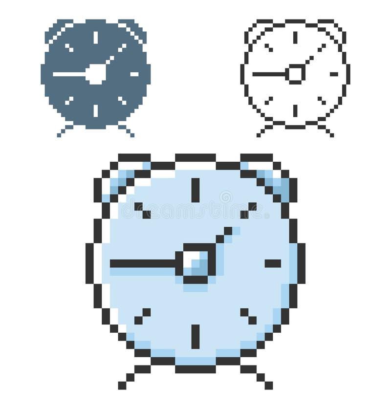 Icône de pixel de réveil dans trois variantes illustration libre de droits