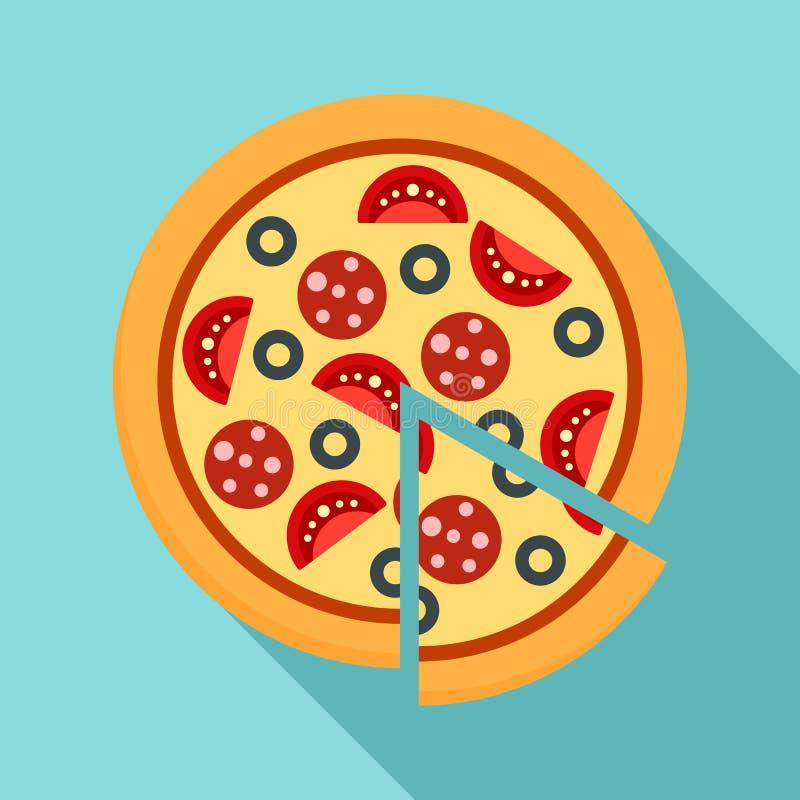 Icône de pizza de margarita, style plat illustration stock