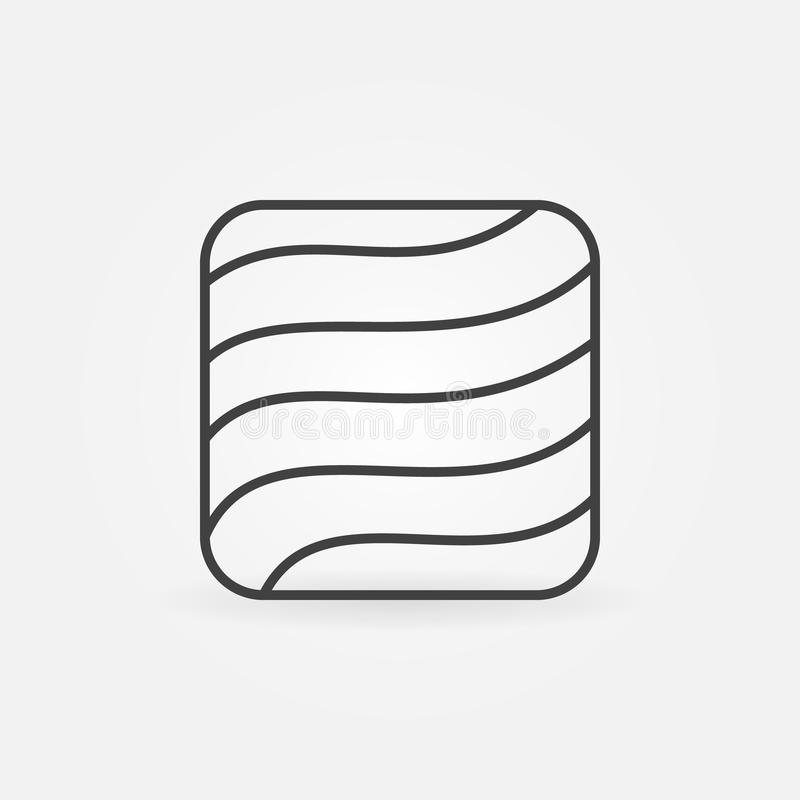 Icône de place de bifteck de saumons ou de truite dans la ligne style mince illustration libre de droits