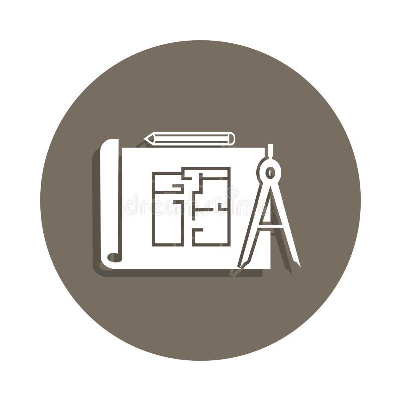 icône de plan de bâtiment dans le style d'insigne Un de l'icône de collection de matériaux de construction peut être employé pour illustration de vecteur