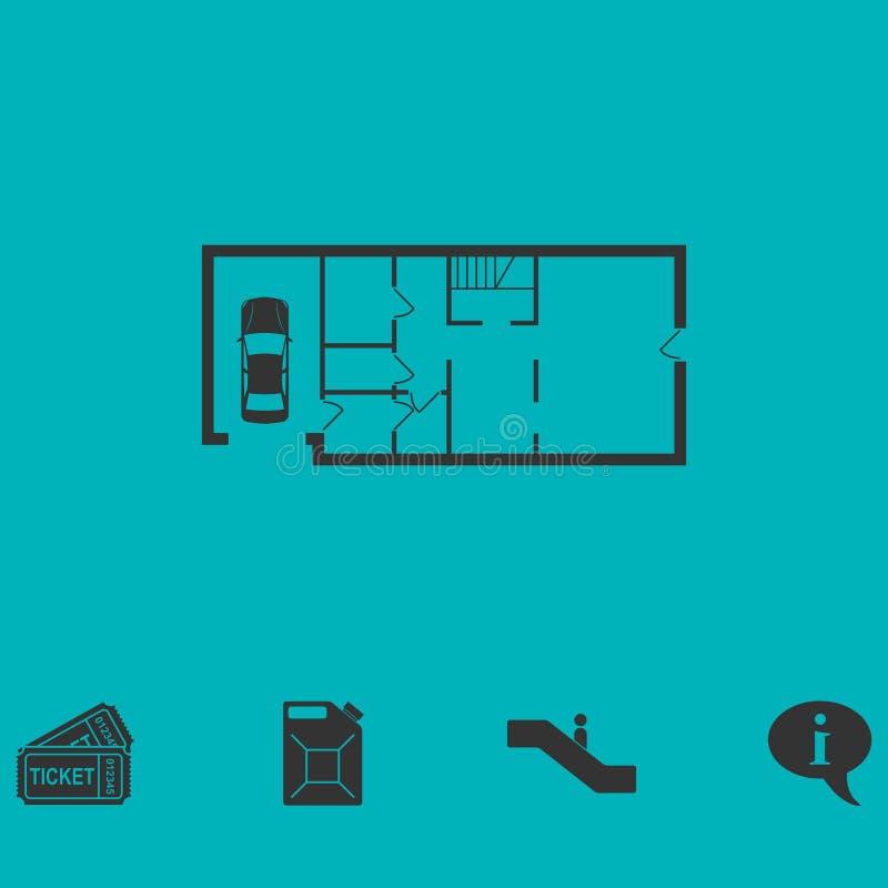 Icône de plan de Chambre à plat illustration de vecteur