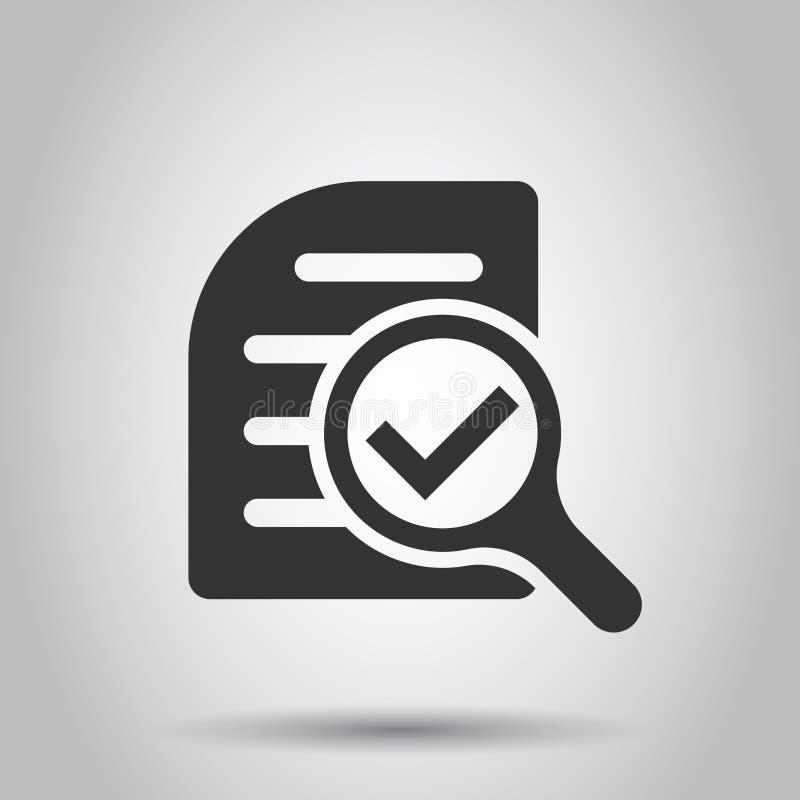 Icône de plan de document d'examen minutieux dans le style plat Illustration de vecteur de déclaration d'examen sur le fond blanc illustration de vecteur
