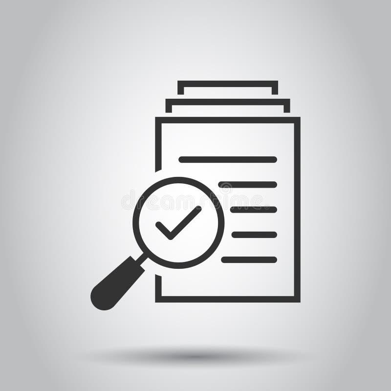Icône de plan de document d'examen minutieux dans le style plat Illustration de vecteur de déclaration d'examen sur le fond blanc illustration stock