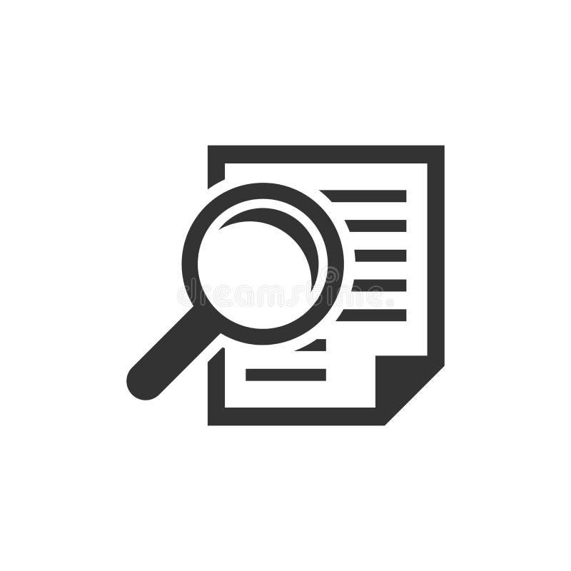 Icône de plan de document d'examen minutieux dans le style plat Vect de déclaration d'examen illustration libre de droits