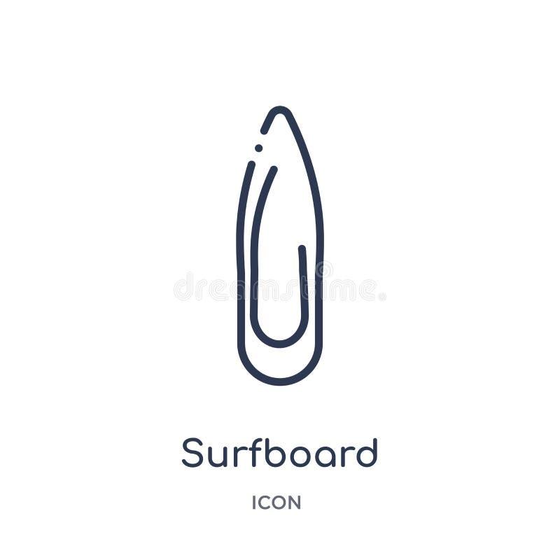 Icône de planche de surf de la collection nautique d'ensemble Ligne mince icône de planche de surf d'isolement sur le fond blan illustration stock