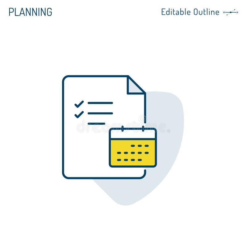 Icône de planification, icône de calendrier, document d'organisateur d'événement, rencontrant l'ordre du jour et la stratégi illustration de vecteur
