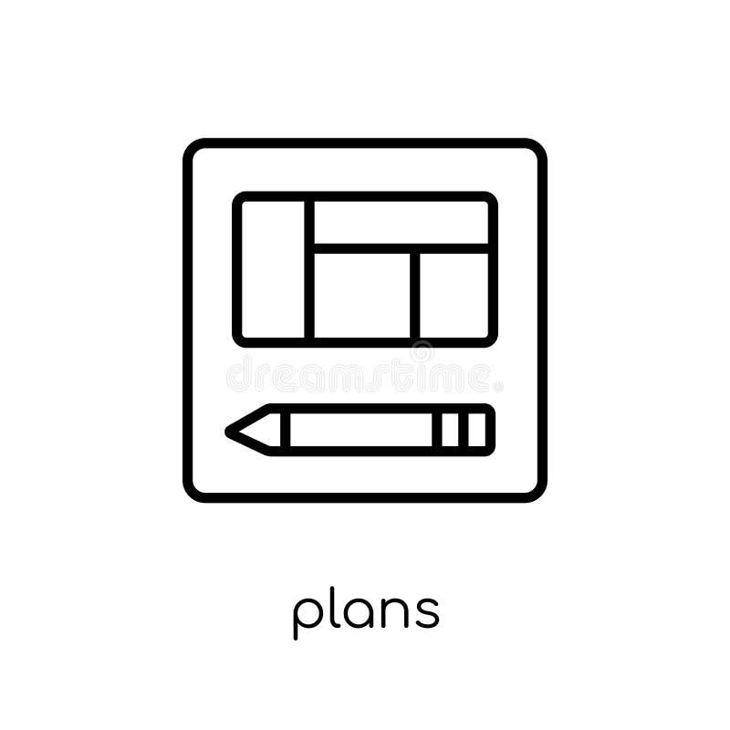 Icône de plans de collection d'immobiliers illustration stock