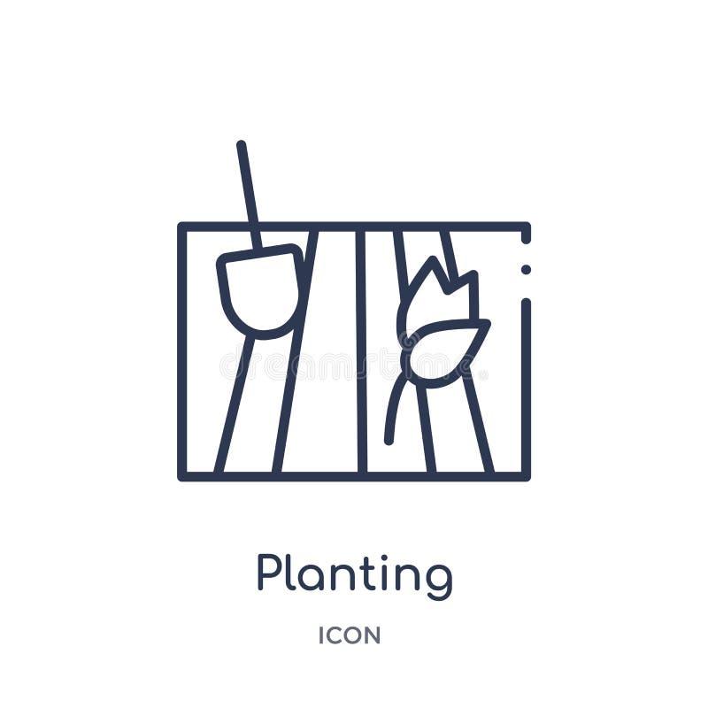 Icône de plantation linéaire de la collection agricole et de jardinage d'agriculture d'ensemble Ligne mince plantant le vecteur d illustration stock