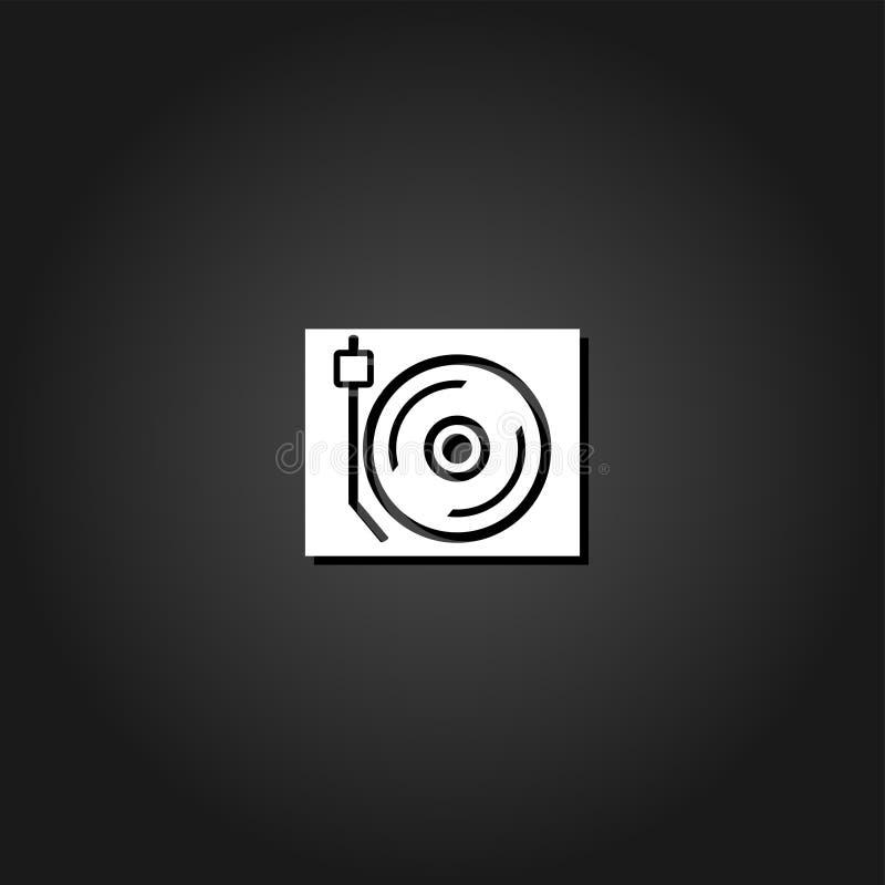 Icône de plaque tournante de jockey de disque à plat illustration stock
