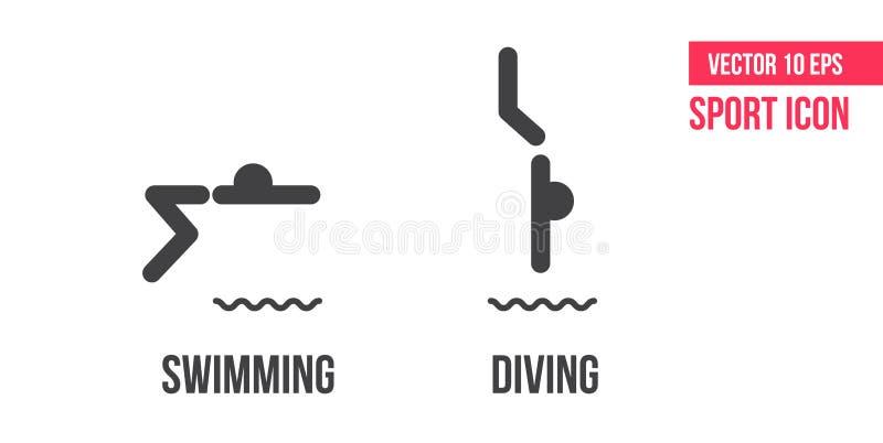 Icône de plongée de natation de signe d'und, logo Placez des sports d'été dirigent la ligne icônes, logo pictogramme d'athlète illustration stock
