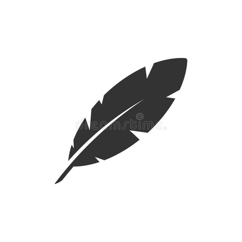 Icône de plume d'isolement sur le fond blanc Illustration de vecteur illustration stock