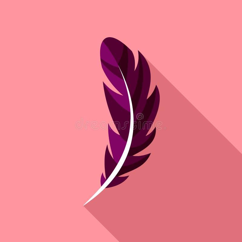 Icône de plume de stylo, style plat illustration stock
