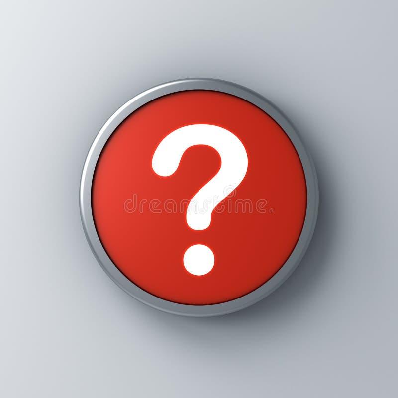 Icône de point d'interrogation de lampe au néon dans le bouton rond rouge de signe d'isolement sur le fond blanc foncé de mur illustration libre de droits