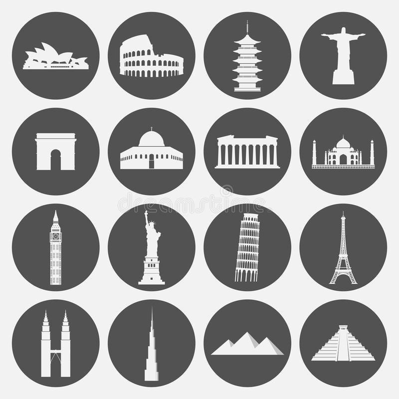 Icône de points de repère de voyage réglée dans le style de papier illustration stock
