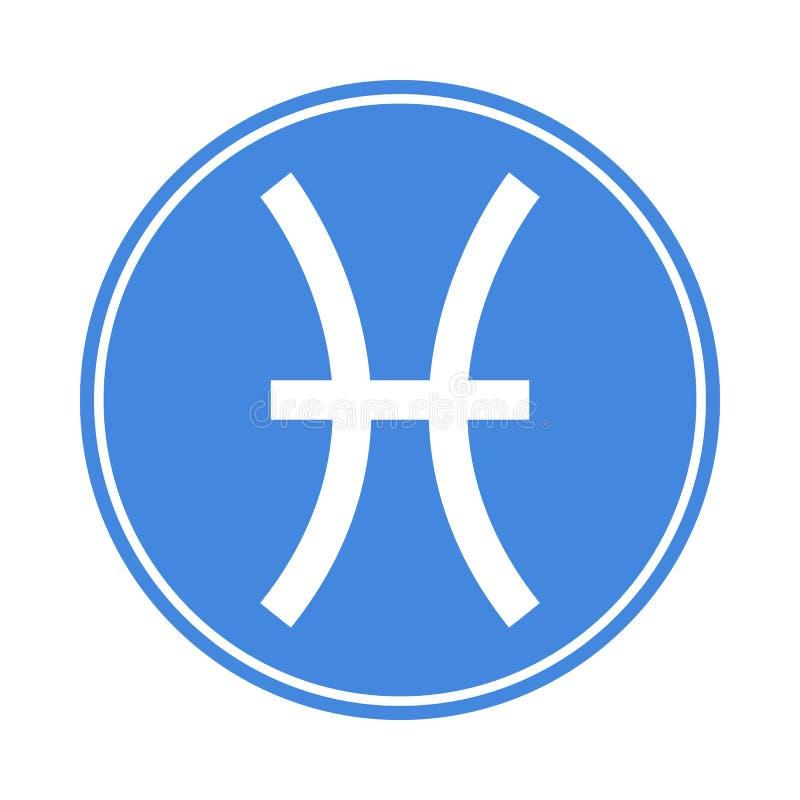 Icône de Poissons Vecteur astrologique, signe d'horoscope Symbole de zodiaque Élément de l'eau collant Illustration de vecteur d' illustration de vecteur
