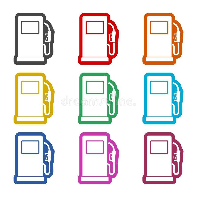 Icône de pompe à gaz, symbole d'essence et de gazole, icônes de couleur réglées illustration de vecteur