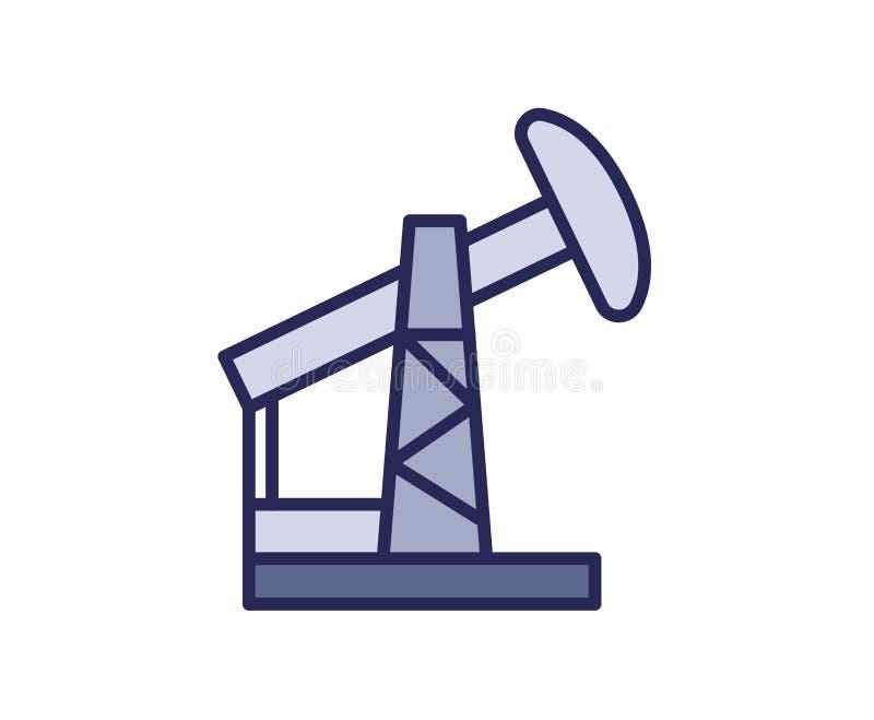 Icône de pompe de cric d'huile Ligne illustration colorée de vecteur D'isolement sur le fond blanc illustration de vecteur