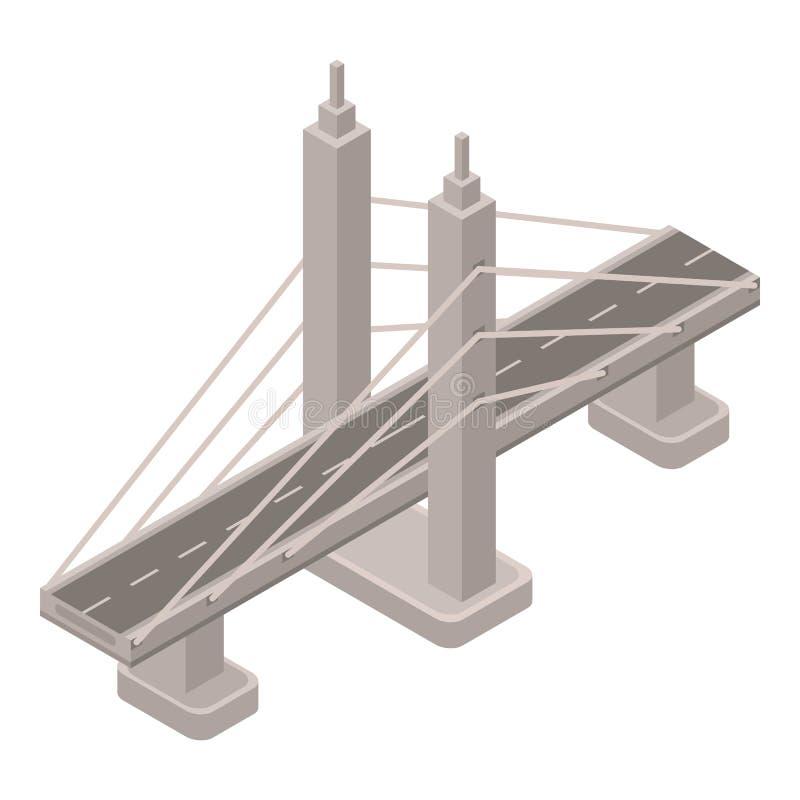 Icône de pont en fil en métal, style isométrique illustration libre de droits