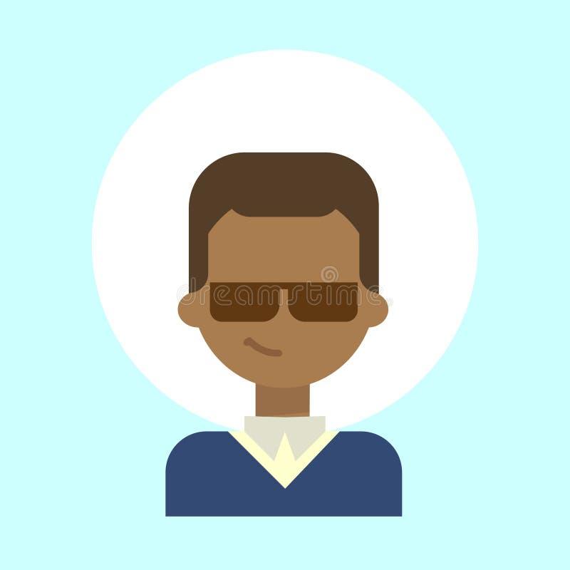 Icône de port masculine de profil d'émotion en verre de Sun d'afro-américain, visage de sourire heureux de portrait de bande dess illustration stock
