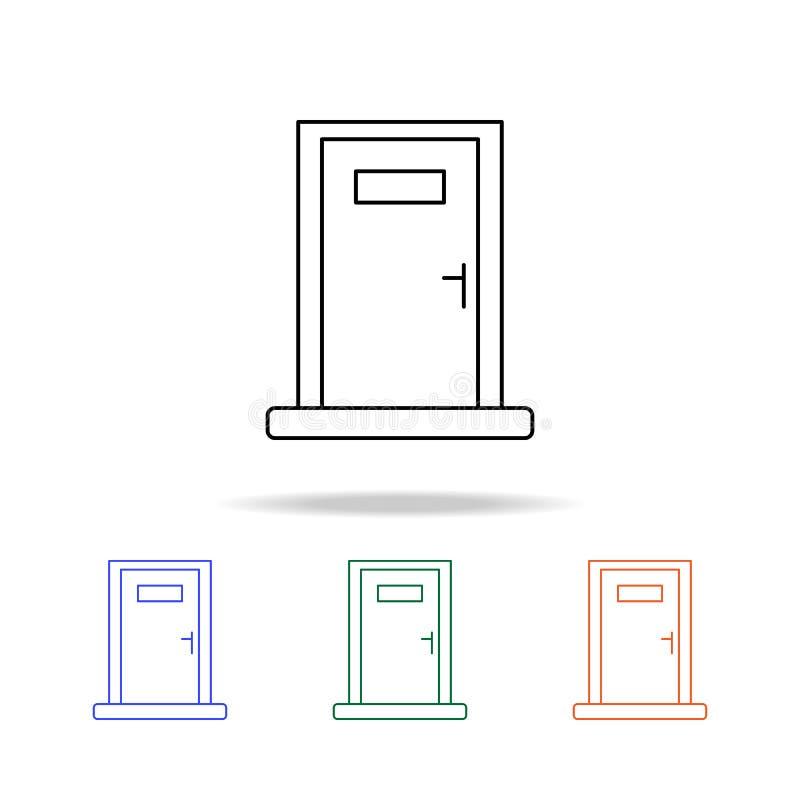 Icône de porte Éléments des immobiliers dans les icônes colorées multi Icône de la meilleure qualité de conception graphique de q illustration libre de droits