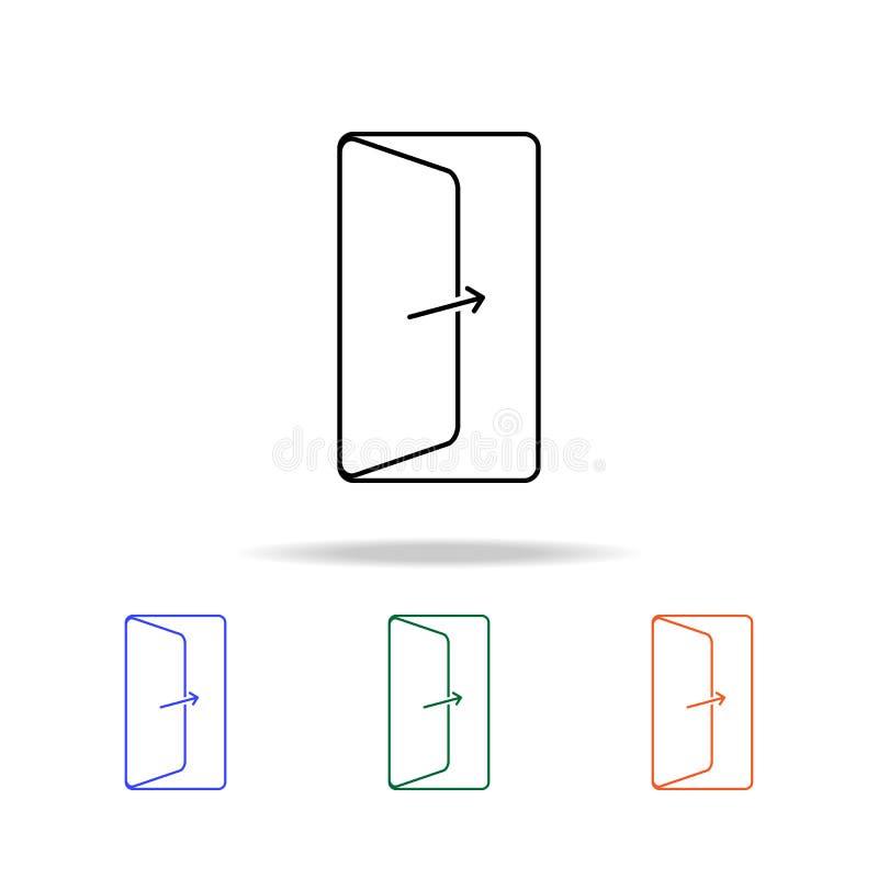 Icône de porte ouverte Éléments des immobiliers dans les icônes colorées multi Icône de la meilleure qualité de conception graphi illustration stock