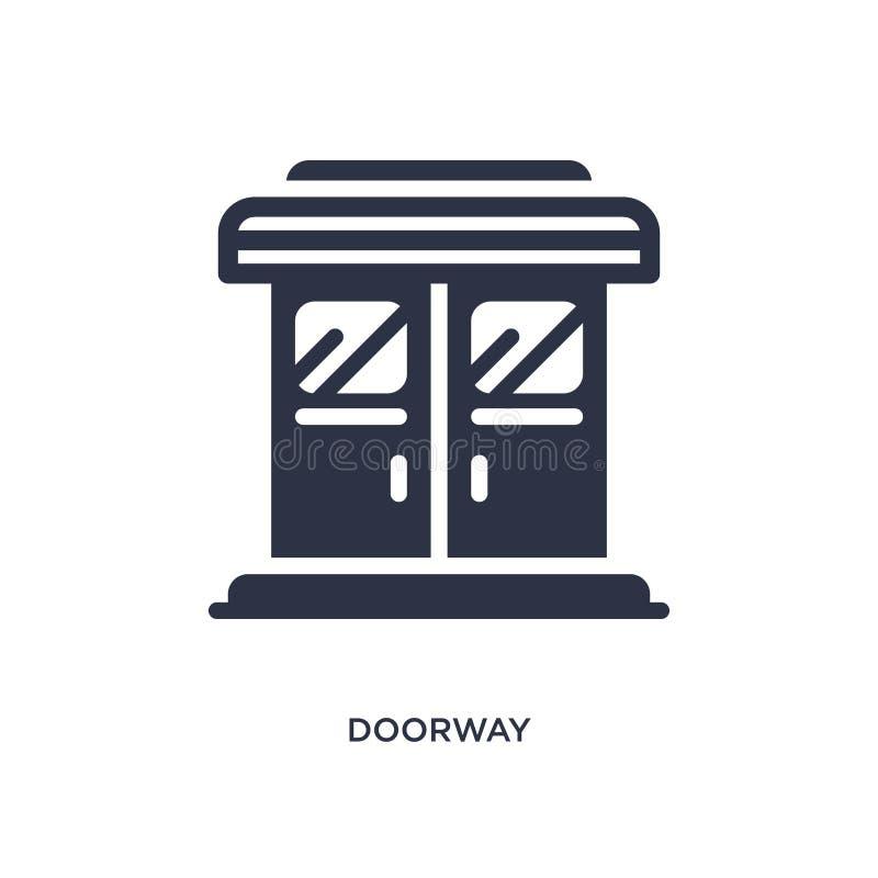 icône de porte sur le fond blanc Illustration simple d'élément de concept de cinéma illustration stock