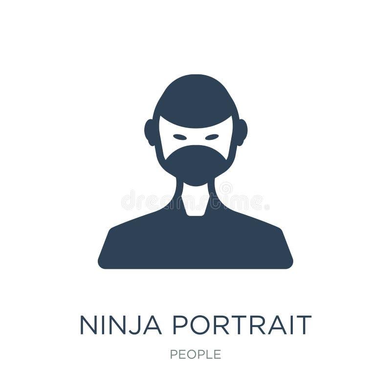 icône de portrait de ninja dans le style à la mode de conception icône de portrait de ninja d'isolement sur le fond blanc icône d illustration stock