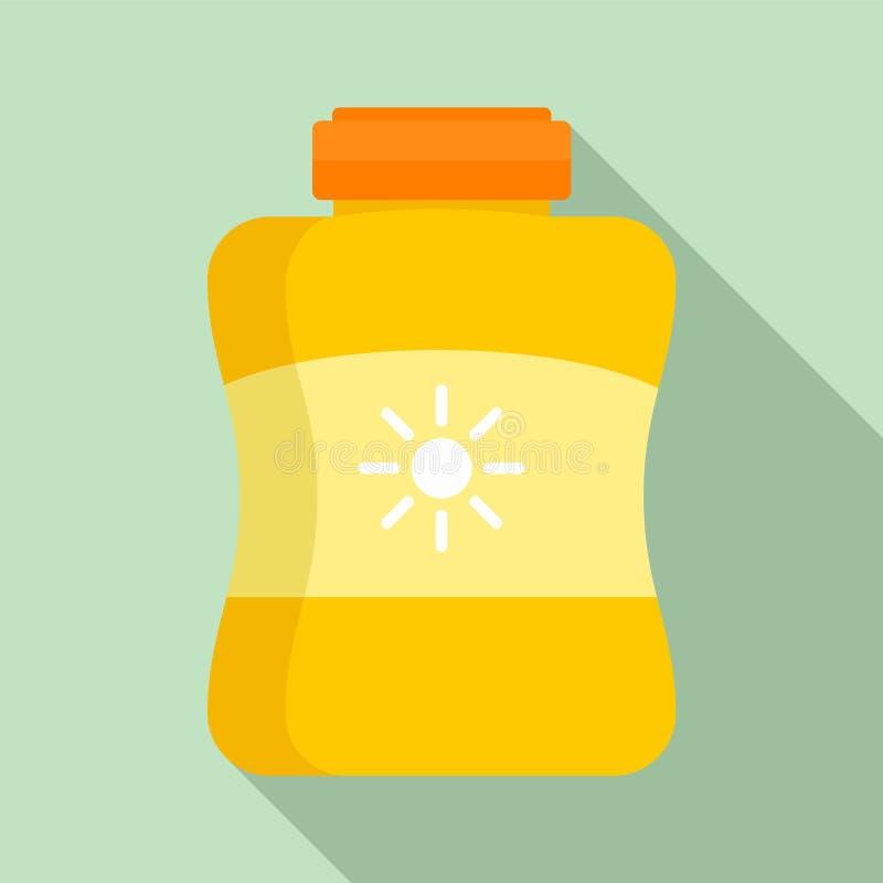 Icône de pot de crème de protection de Sun, style plat illustration libre de droits