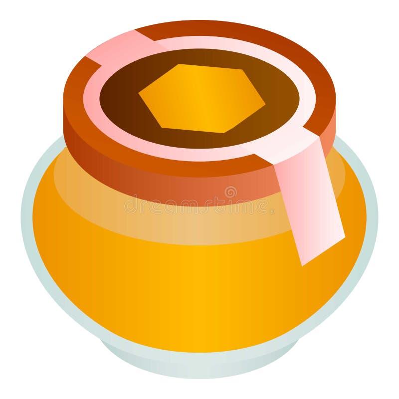 Icône de pot de miel de Wildflower, style isométrique illustration de vecteur