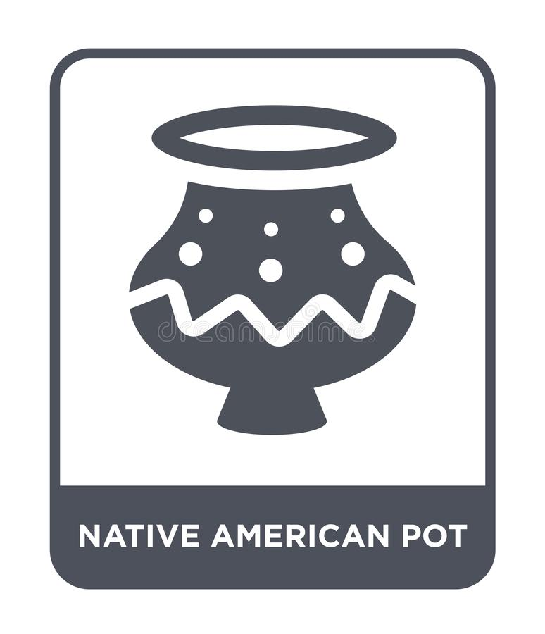 icône de pot de natif américain dans le style à la mode de conception icône de pot de natif américain d'isolement sur le fond bla illustration stock