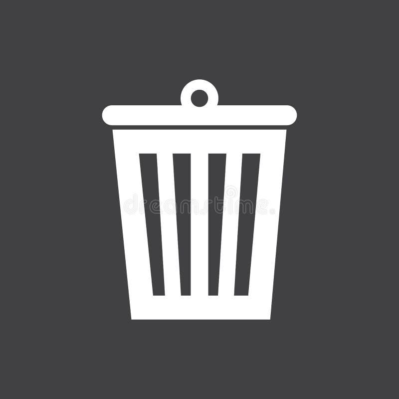 Icône de poubelle sur l'obscurité illustration de vecteur