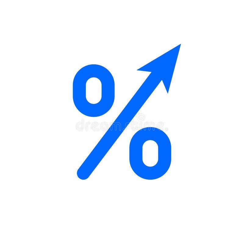Icône de pour cent de flèche de forte croissance de bénéfice Flèche d'augmentation de bénéfice de PIB de vecteur vers le haut de  illustration de vecteur