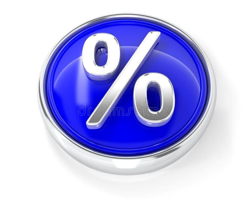 Icône de pour cent sur le bouton rond bleu brillant illustration libre de droits