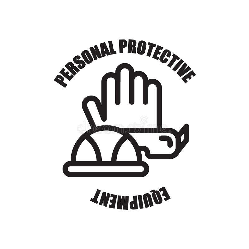 icône de PPE d'isolement sur le fond blanc illustration stock