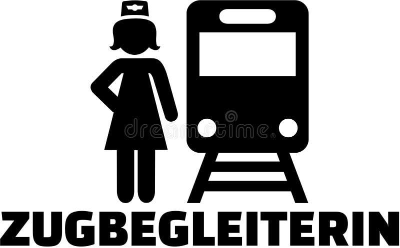 Icône de préposé de train avec la fonction allemande illustration libre de droits