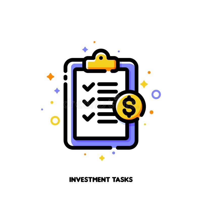 Icône de presse-papiers avec la liste de contrôle et de traits de repère pour le concept de tâches d'investissement de capitaux S illustration de vecteur