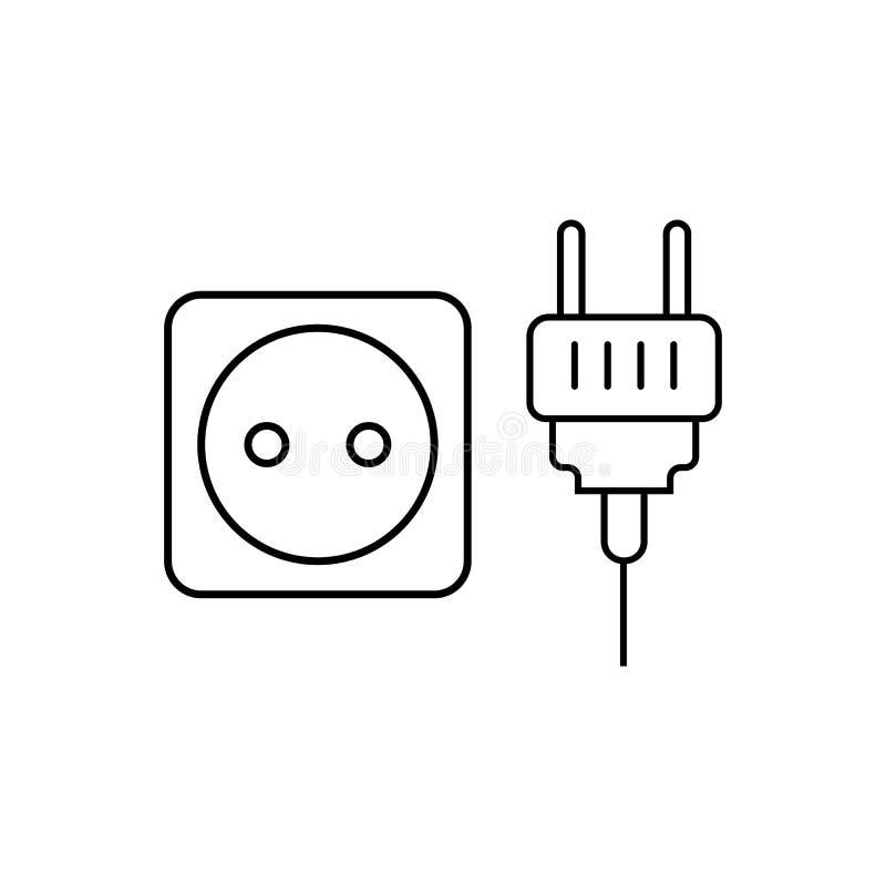 icône de prise et de prise Élément des appareils ménagers pour les apps mobiles de concept et de Web Ligne mince icône pour la co illustration libre de droits