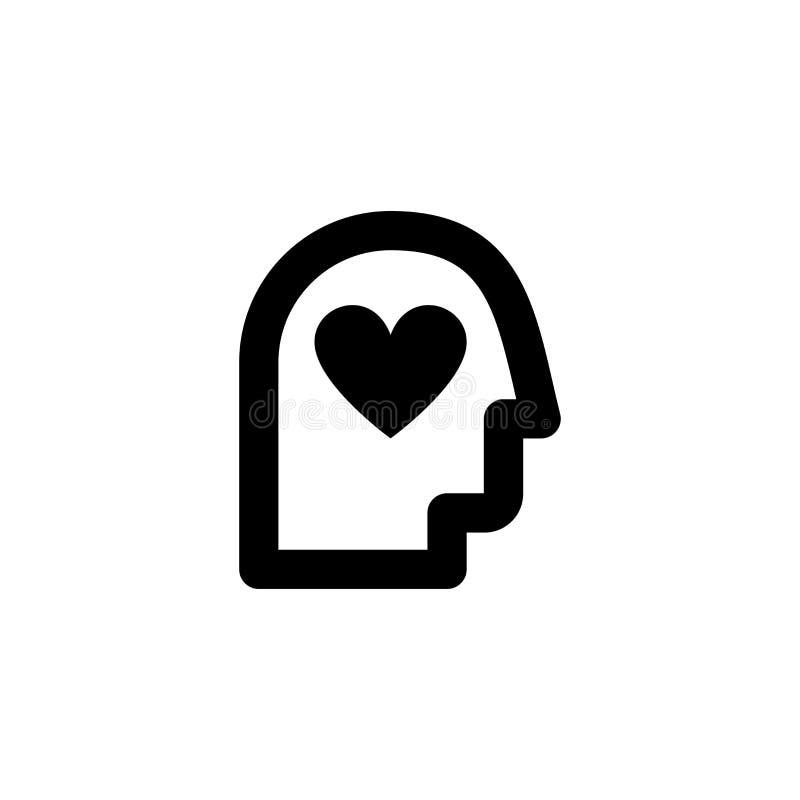 Icône de processus Cerveau et signe d'amour illustration libre de droits
