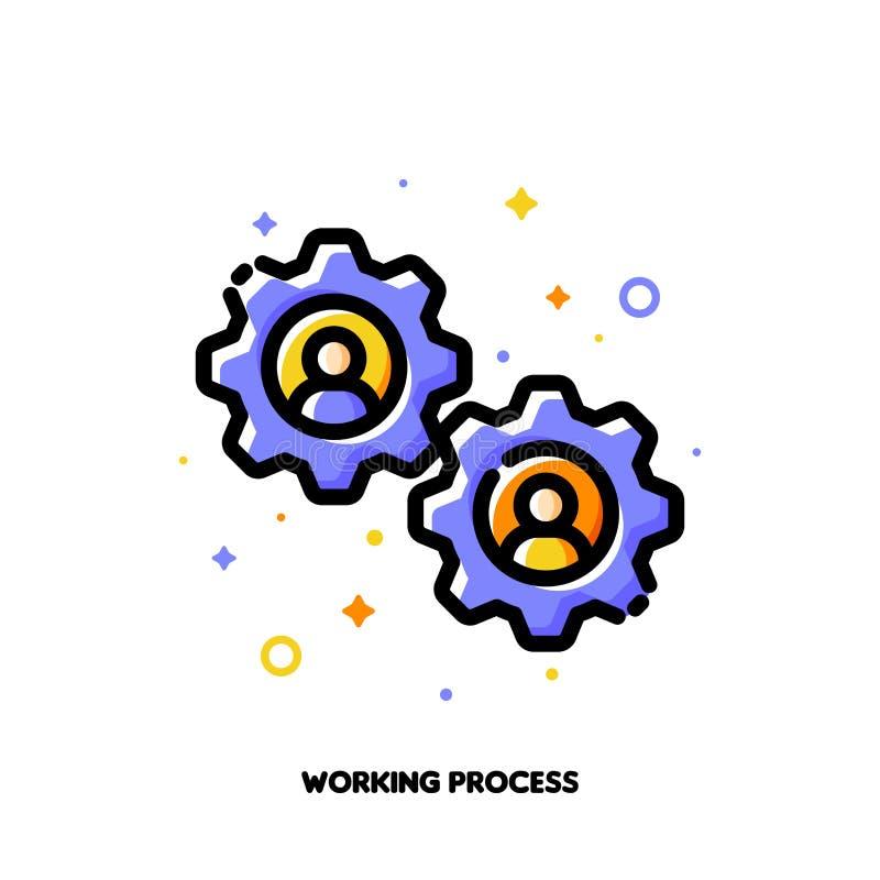 Icône de processus fonctionnante pour le concept de gestion de ressources humaines Style rempli par appartement d'ensemble Pixel  illustration stock