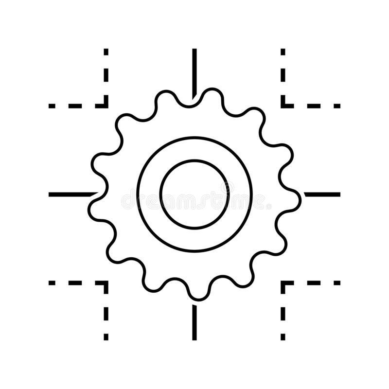 icône de processus de technologie Élément de sécurité de cyber pour le concept et l'icône mobiles d'applis de Web Ligne mince icô illustration de vecteur