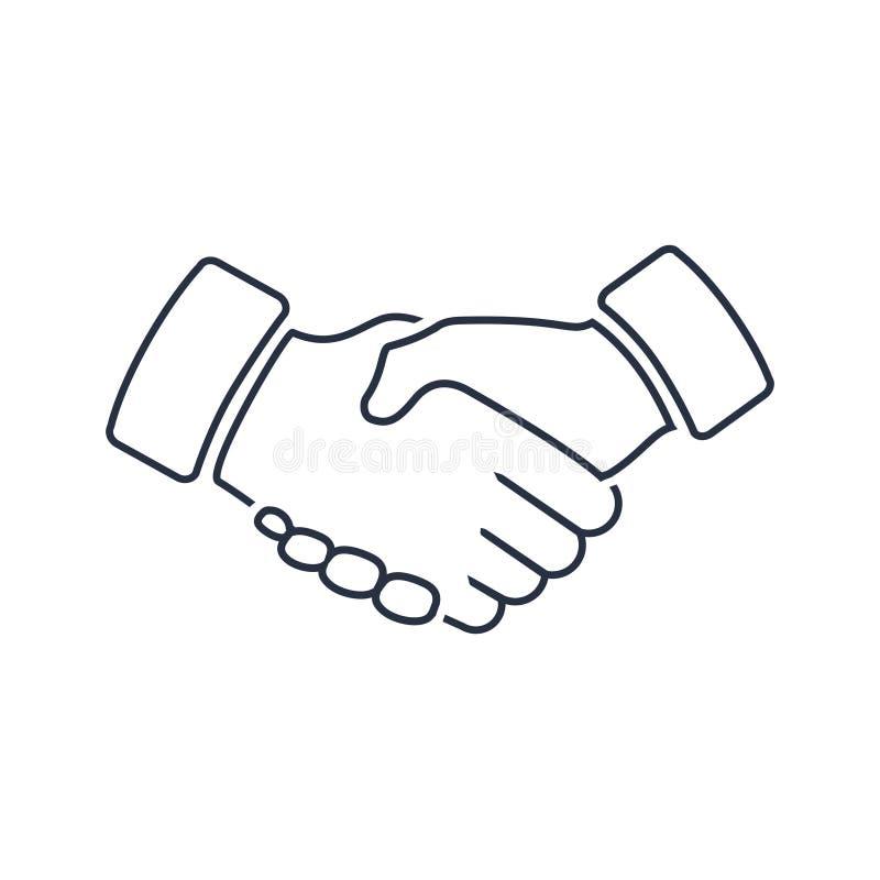 Icône de professionnel bienvenue et de respect de poignée de main Fidélité ou marque de pictogramme, d'amitié ou d'affaire d'asso illustration de vecteur