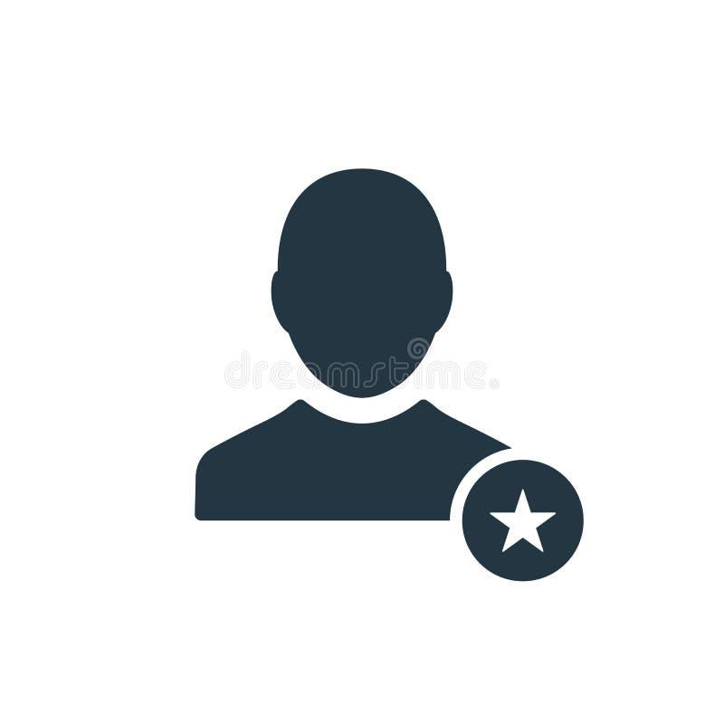 Icône de profil avec le signe d'étoile Profilez l'icône et le meilleur, favori, évaluant le symbole illustration stock