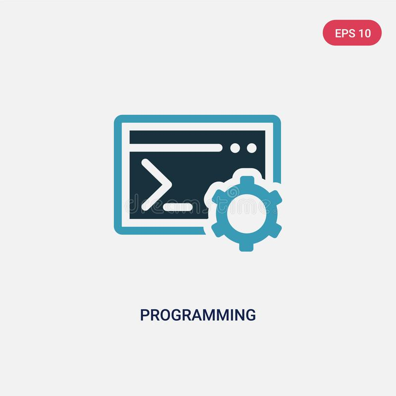 Icône de programmation de vecteur de deux couleurs de concept le symbole de programmation bleu d'isolement de signe de vecteur pe illustration stock