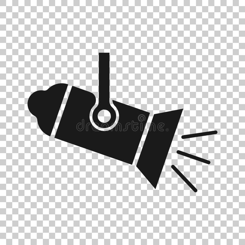 Icône de projecteur dans le style transparent Illustration de vecteur de lampe sur le fond d'isolement Concept d'affaires de lamp illustration stock