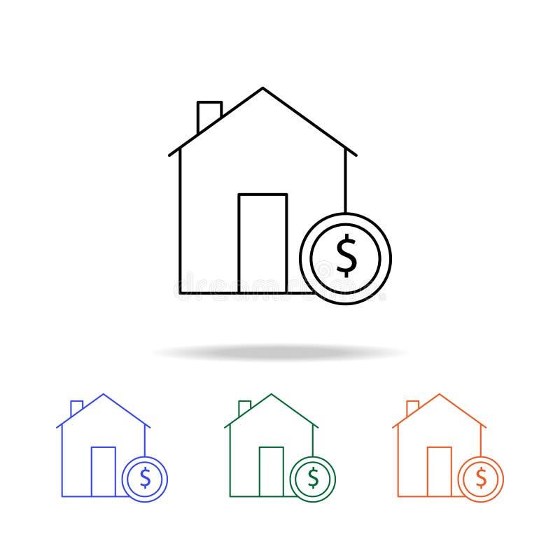 Icône de propriété d'investissement Éléments des immobiliers dans les icônes colorées multi Icône de la meilleure qualité de conc illustration de vecteur
