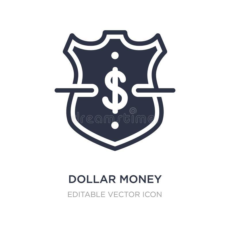 icône de protection d'argent du dollar sur le fond blanc Illustration simple d'élément de concept d'affaires illustration de vecteur