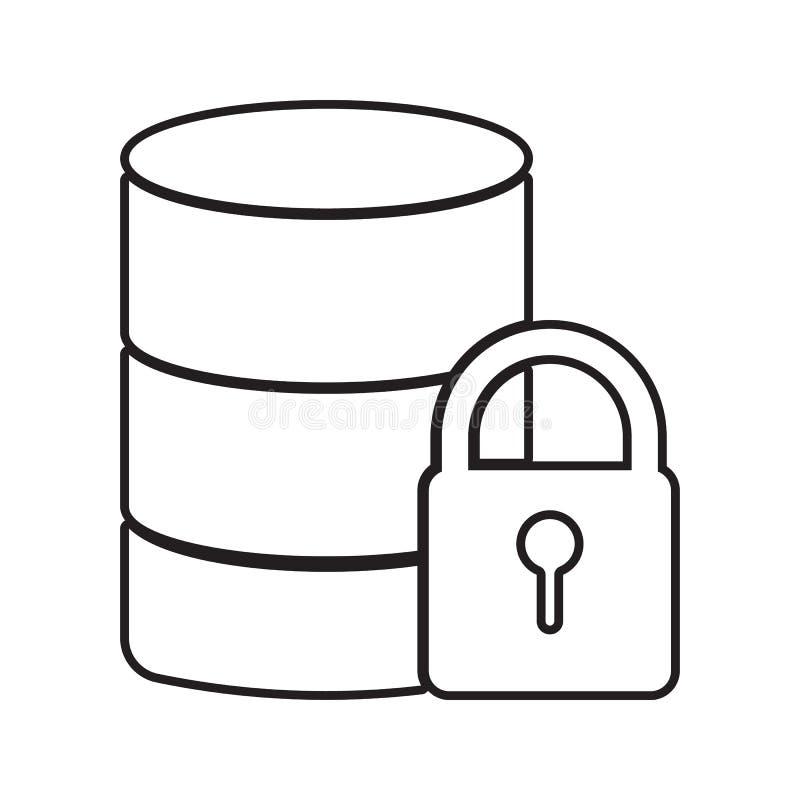 Icône de protection des données Élément de sécurité de cyber pour le concept et l'icône mobiles d'applis de Web Ligne mince icône illustration de vecteur