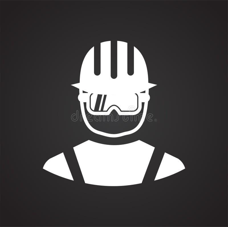 Icône de protection oculaire de sécurité sur le fond noir pour le graphique et la conception web, signe simple moderne de vecteur illustration stock
