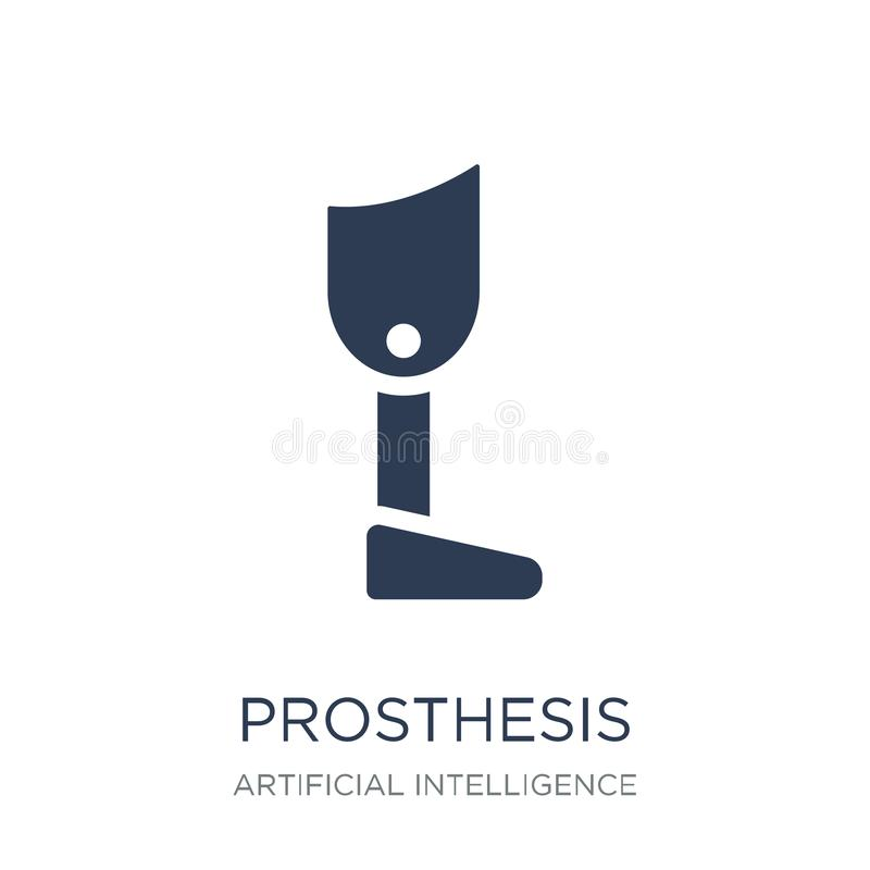 Icône de prothèse Icône plate à la mode de prothèse de vecteur sur le CCB blanc illustration stock