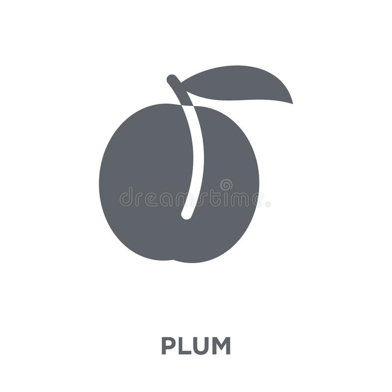 Icône de prune de collection de fruits et légumes illustration libre de droits